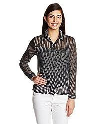 KIMYRA Women's Button Down Shirt (540913_Black_Large)