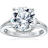 "Platinum Plated Sterling Silver ""100 Facets Collection"" Solitaire Cubic Zirconia Ring (4.25 cttw)"