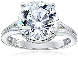 """Platinum Plated Sterling Silver """"100 Facets Collection"""" Solitaire Cubic Zirconia Ring, Size 5"""