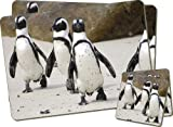 Penguins on Sandy Beach Twin Coaster and Placemat Set, Ref:AB-100PC