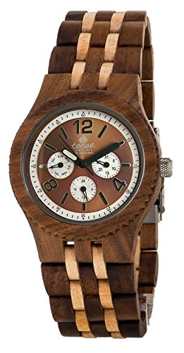 Tense Adventure Vernon Triple Dial Multifunction Jumbo Walnut Maple Wood Watch J5203Wm Br