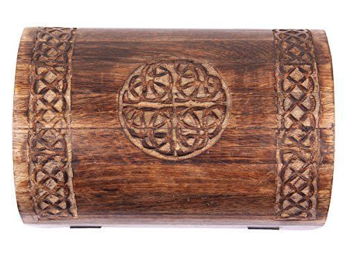 Rustic Wooden Large Keepsake Storage Box Jewelry Organizer Multipurpose with Celtic Carvings