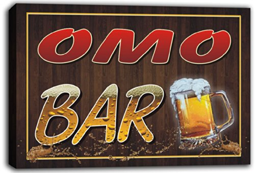 scw3-056624-omo-name-home-bar-pub-beer-mugs-stretched-canvas-print-sign