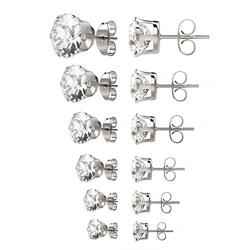 Uhibros 316L Surgical Stainless Steel Round Clear Cubic Zirconia Stud Earrings (6 Pairs) Assorted Sizes