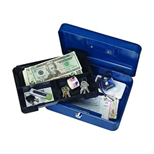 STEELMASTER Compact Steel Security Case, Includes 2 Keys, 9.75 x 3.5 x 7 Inches, Color May Vary (28347)