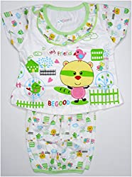 Bubbles Dress With Bloomer Diaper Cover - Green (0-4 Months)