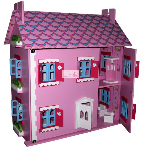 SPECIAL EDITION STRAWBERRY INTERIOR PATTERN PINK DOLLS HOUSE COMPLETE WITH FURNITURE AND 4 DOLLS