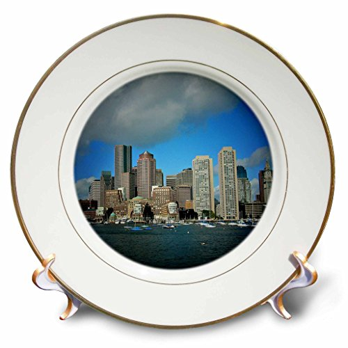 3dRose cp_21730_1 Boston Downtown Skyline in Spotlight Porcelain Plate, 8-Inch