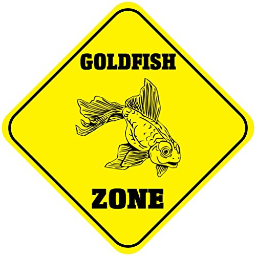 Goldfish Zone Crossing Funny Metal Aluminum Novelty Sign
