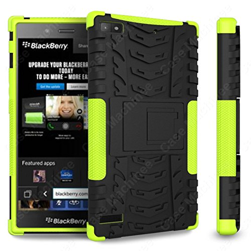 Heartly Flip Kick Stand Hard Dual Armor Hybrid Rugged Bumper Back Case Cover For Blackberry Z3 - Green