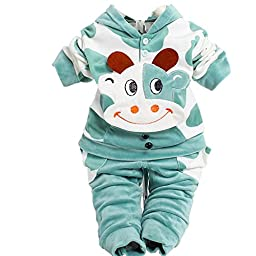 Unisex Baby Velour Cow Original Cuddle Coat for 1-3 Year 2 Pieces 3 Color (For 24 months, Green)