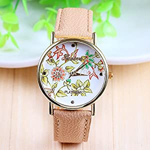 Ryanwayland 20 Styles New Arrival Hot Selling Women Rose Gold Geneva Brand Flower Azetec Pattern Alloy Ladies' Dress Watch Lover Gift Quartz Wristwatches (Style 1)