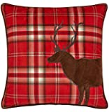 Catherine Lansfield Tartan Stag Cushion Cover Red