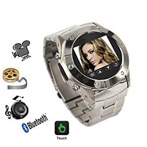 007-Watch W968 Silver Quad Band Watch Mobile Phone - Spy Camera Touch Screen Bluetooth Stainless Steel