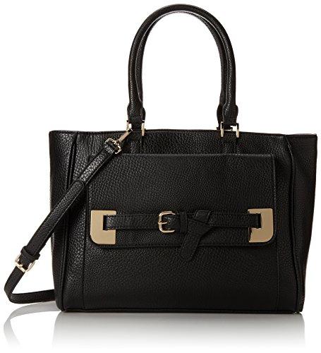 BIG BUDDHA Colby Zip Satchel Top Handle Bag,Black,One Size