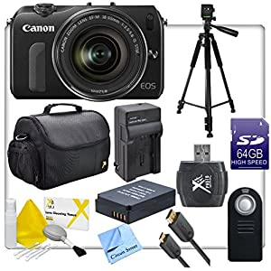 Canon EOS M Digital SLR Camera, With Canon EF-M 18-55mm f3.5-5.6 IS STM Compact System Lens, Full Sized Tripod, 64GB SD Memory Card, SD Card Reader, Rapid Charger with Adapter, Mini HDMi, LPE12 Replacement Battery, Shock Proof Camera Case, Wireless Camera Remote, Lens Cleaning Kit, and CS Microfiber Cloth,