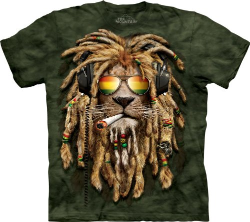The Mountain, Smokin' Jahman T-Shirt Adult, Green, Size: X Large