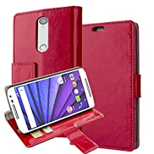 buy Motorola Moto G 3Rd Generation Case, Moto G 3Rd Gen Case, 2015 Aomax Pu Wallet Leather Flip Case With Credit Card Id And Stand View (Hdfm Red)