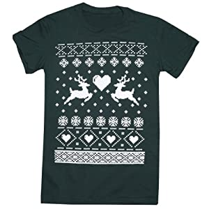 Happy Family Reindeer Ugly Christmas Sweater Print Womens (Juniors) T-Shirt