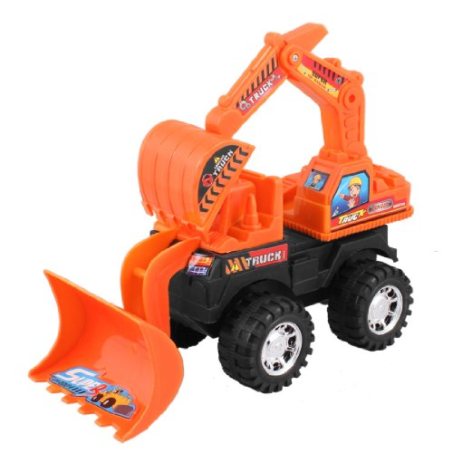 Rosallini Kid Orange Black Plastic Machinery Bulldozer Truck Digger Car Toy