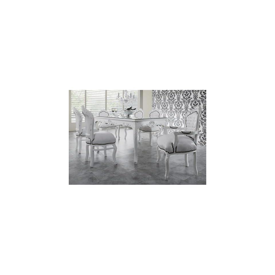 Wunderbar Barock Esszimmer Set Weiß/Weiß Esstisch + 6 Stühle