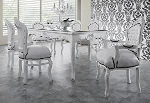 baroque dining room set white white dining table 6 chairs kitchen home. Black Bedroom Furniture Sets. Home Design Ideas