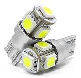 T10 LED ホワイト ポジション 2個セット ナンバー灯 ルームランプ バニティランプ カーテシランプ 白 5050 5連SMD DC 12V W5W ウェッジ シングル LT10-5S5050W illumicraft(イルミクラフト)