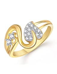 Meenaz Love Ring Valentine Gifts Heart Ring Gold 24K Fancy Party Wear In American Diamond Cz Ring For Girls &...