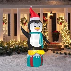 8 39 tall penguin on present christmas airblown for Amazon christmas lawn decorations