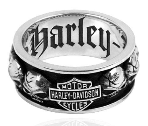 Harley-Davidson .925 Silver Spinning Skull Mens Ring (11)