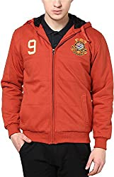 Okane Men's Cotton Regular Fit Sweatshirt (35527 ORANGE L, Orange, L)