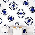 DeStudio Floral Tile Chalkboard Wall Decal, Size LARGE & Color : BLUE