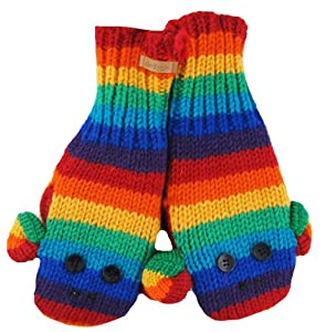 DeLux Cute Sock Monkey Wool Animal Mittens - More Colors! (Adult, Rainbow)