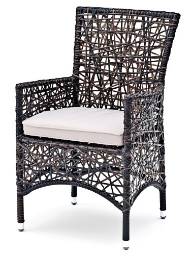 Landmann Timandra Indoor & Outdoor Spiderweb Wicker Armchair with Cushion, black