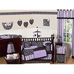 Sweet Jojo Designs Purple and Black Kaylee Girls Boutique Baby Bedding 9 pc Crib Set