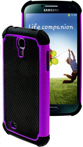 "myLife (TM) Purple and Black – Rugged Design (2 Piece Hybrid Bumper) Hard and Soft Case for the Samsung Galaxy S4 ""Fits Models: I9500, I9505, SPH-L720, Galaxy S IV, SGH-I337, SCH-I545, SGH-M919, SCH-R970 and Galaxy S4 LTE-A Touch Phone"" (Fitted Back Solid Cover Case + Internal Silicone Gel Rubberized Tough Armor Skin)"