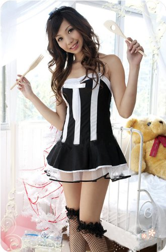 Women's Adult Sexy French Maid Costume Lingerie Outfits-Black/White