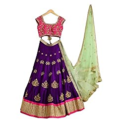 Everest women's Banglory Heavy embroidery Work Purple Semi-Stitched Bollywood Designer Lehenga Choli/partywear lehenga choli.