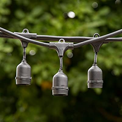 Proxy Lighting Weatherproof String Lights with 15 Dropped Sockets, 48-Feet, Black - No Bulbs