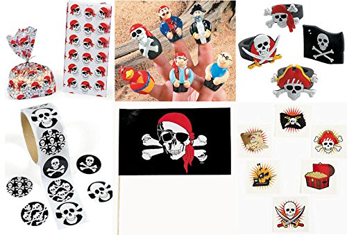 172 Pc Pirate theme Party Favors Pack Bundle Boy's Girl's Bags Rings Finger Puppets Flags Stickers Tattoos Toys (Jack Sparrow Skull Ring compare prices)