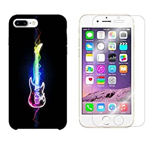 Snoogg Abstract Guitar Combo Designer Protective Back & Shatter Proof Tempered Glass For APPLE IPHONE 7