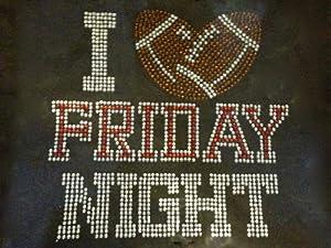 I love Friday Night Football Rhinestone Transfer Iron On Hot Fix Motif Bling Applique - DIY