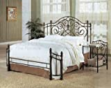 Queen Size Antique Gold Finish Metal Bed Headboard & Footboard