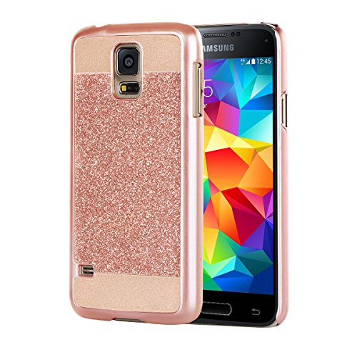 Samsung Galaxy S5 Case, BENTOBEN Sparkly Bling Hybrid Hard PC Case Laminated with Luxury Shiny Synthetic Protective Cover for Samsung Galaxy S5(G900), Rose gold (Galaxy S5 Protective Case Gold compare prices)