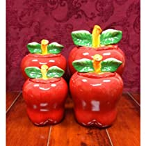 Set of 4 Apple shaped red ceramic CANISTERS country kitchen home decor NEW