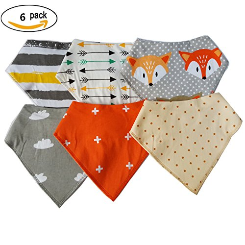 6 Pack of Baby Bandana Bibs Super Absorbent Unisex Baby Bandana Bibs 100% Organic Cotton (Super Absorbent compare prices)
