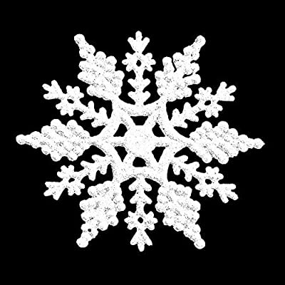 Pack of 6 Glitter Snowflake Christmas Tree Hanging Decorations (White)