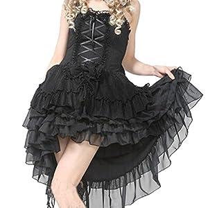 Patiss Women's Punk Ruffles Neck Drawstring Lolita Jumper Skirt Dress,XL,Black