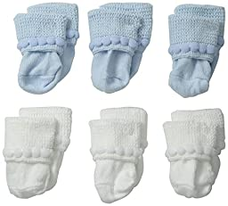 Jefferies Socks Unisex-Baby Newborn Bubble Stitch Rock-A-Bye Bootie 6 Pair Pack, Blue/White, Infant