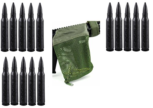 Magpul 215 Black 5.56 Pack Of 15 Dummy Ammo + Ultimate Arms Gear Tactical Od Olive Drab Green Deluxe Mesh Ar15 Ar-15 .223 5.56 Rifle Brass Shell Bullet Catcher Bag